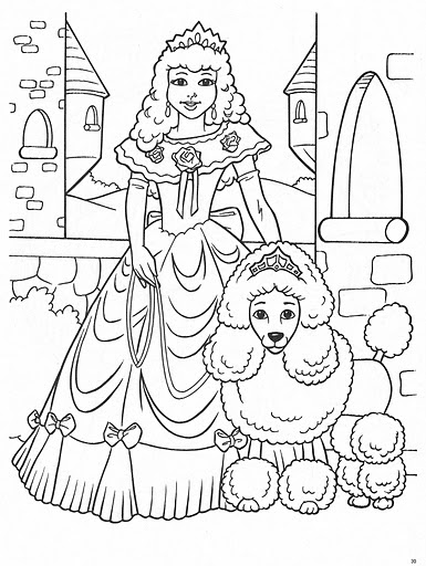 Real Princess Coloring Pages : Princess and her real pet free coloring pages