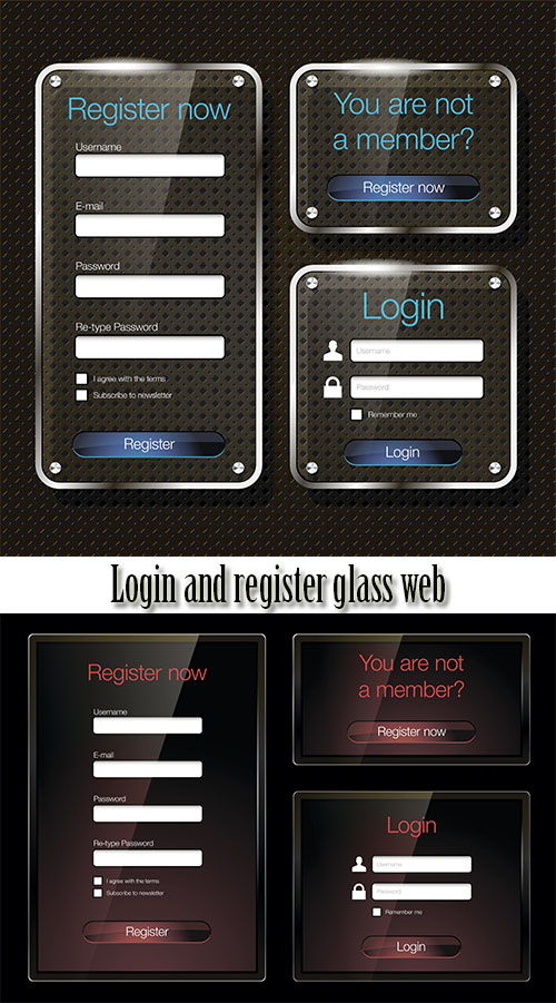 Stock: Login and register glass web forms