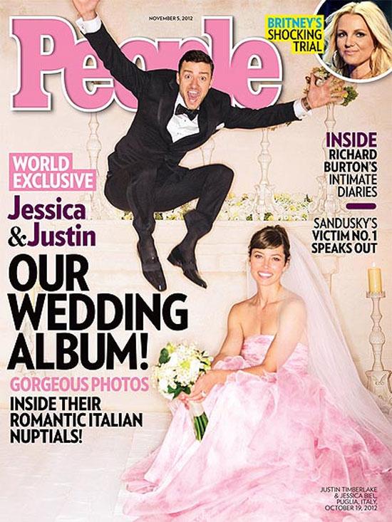 Vestido cor de rosa da noiva Jessica Biel  na revista People
