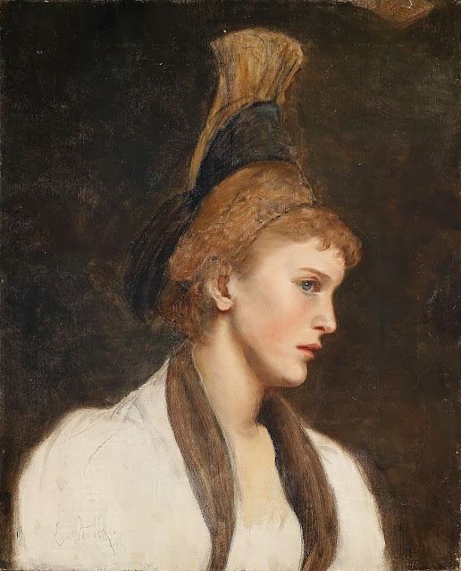 Eduard Veith - Woman in profile with gold cap.