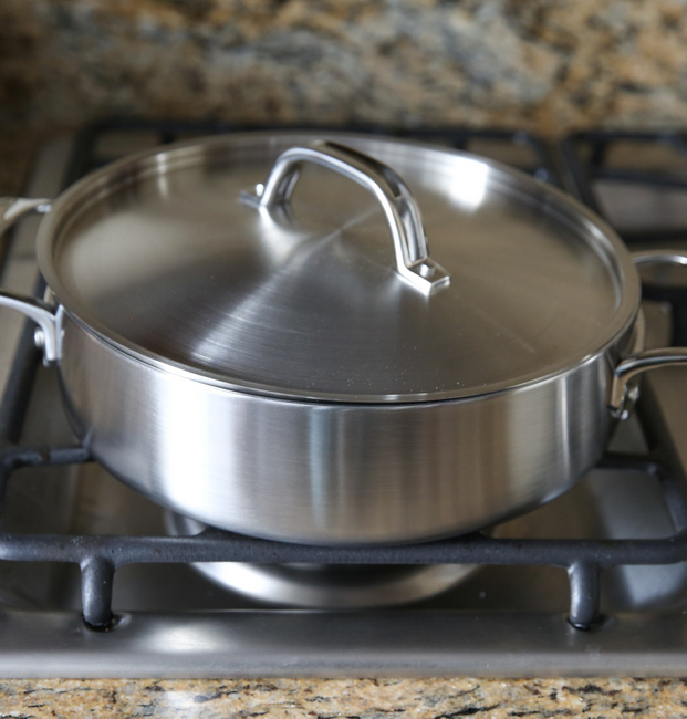 photo of a Viking 5-Ply Everyday Pan on a stove