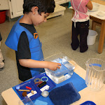 Applied science is big in Montessori preschool. This boy is sorting common object by their buoyancy: will they sink or float? He may, later, draw the objects and label them with their names, sorted by whether they sink or float.