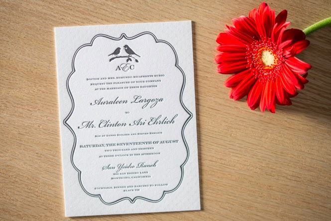 Auraleen & Clinton's Letterpress Invitations