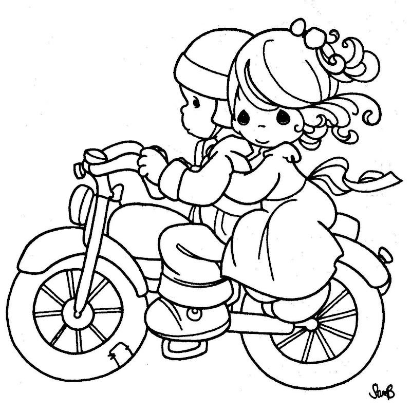 coloring pages precious moments - couple in a motorcycle precious moments