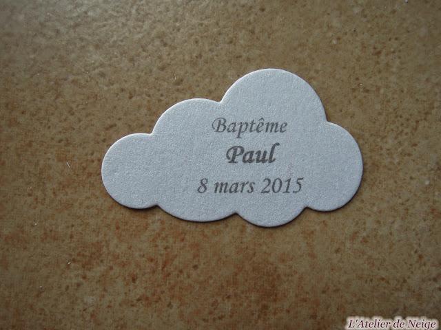 117 - Etiquettes à dragées Baptême  Paul 8 mars 2015