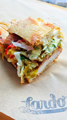 Lardo Chefwich #5 of 2014, a collaboration with Sarah Schafer of Irving St Kitchen. Fried chicken, tasso bacon, padron pepper relish, buttermilk slaw, cajun mayo. Proceeds benefit Share Our Strength to fight childhood hunger. Until mid April 2014 only.