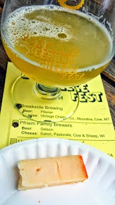 Portland Beer and Cheese Festival 2014, a pairing of beer and cheese, here Pfriem Family Brewers Saison with Satori – Pastorale – cow and sheep – Wisconsin
