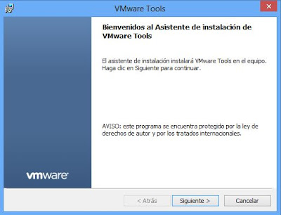 Instalar VMware Tools en máquina virtual con Windows 8