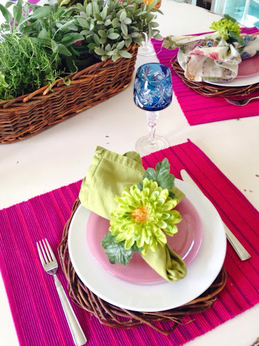 Lime green tablescape, flower napkin ring tutorial