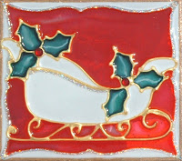 Red Christmas Sleigh with holly