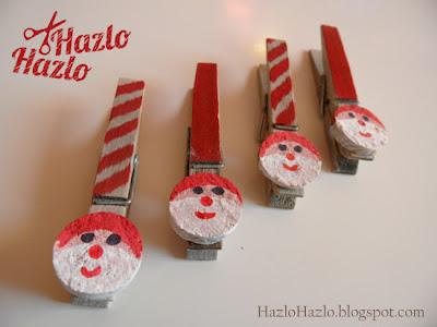 Cómo decorar pinzas con caritas de Papá Noel para Navidad.