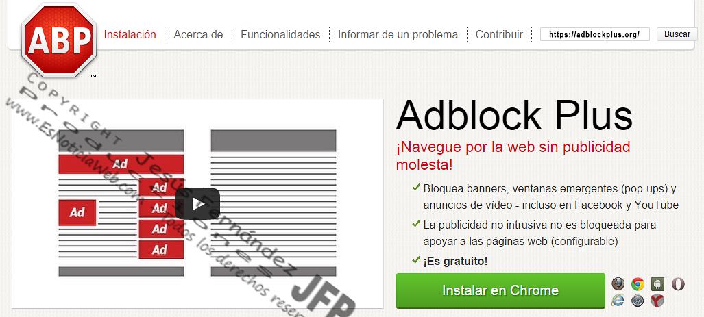 Navegue por la web sin publicidad con Adblock