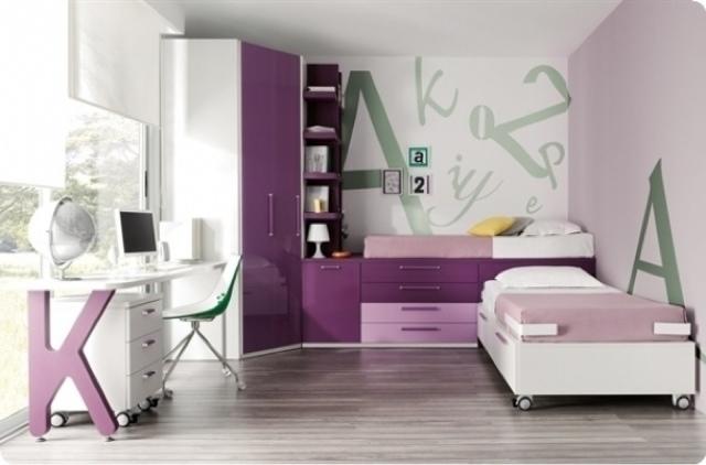 Dormitorio juvenil blanco y lila - Camas dormitorios infantiles ...