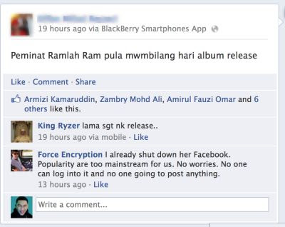 Ramlah Ram Diugut Selepas Akaun Facebook, Twitter Digodam