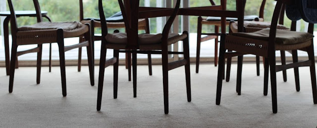 empty chair legs around a table