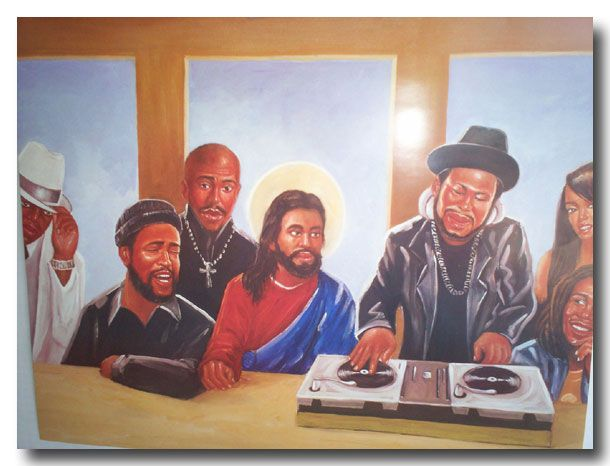 That awful poster with Lennon, Elvis, Hendrix etc Tupac And Biggie Painting