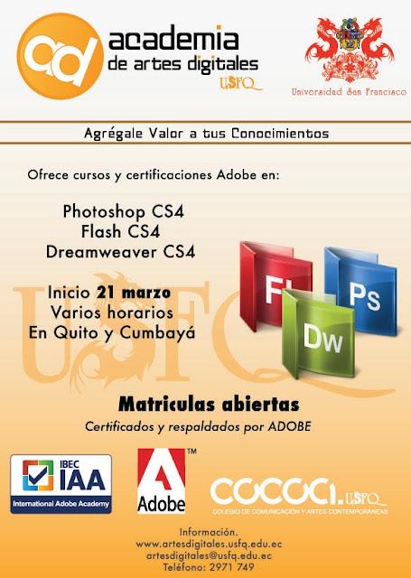 Cursos y Certificaciones Adobe en Academia de Artes Digitales USFQ