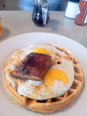 pork belly and cornmeal maple braised waffle with 2 eggs, Skillet Diner, Seattle