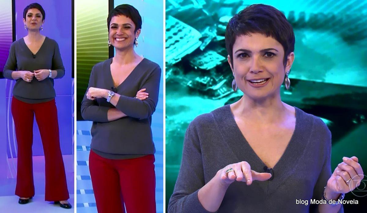 moda do programa Globo Ação - look da Sandra Annenberg dia 24 de maio