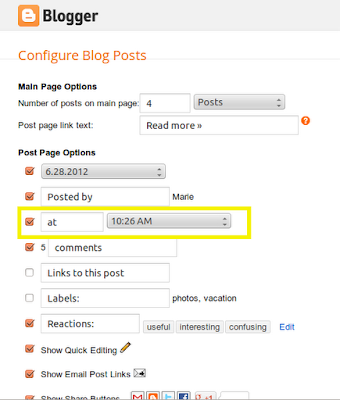 blogger post options screen with a highlight on the timestamp link option