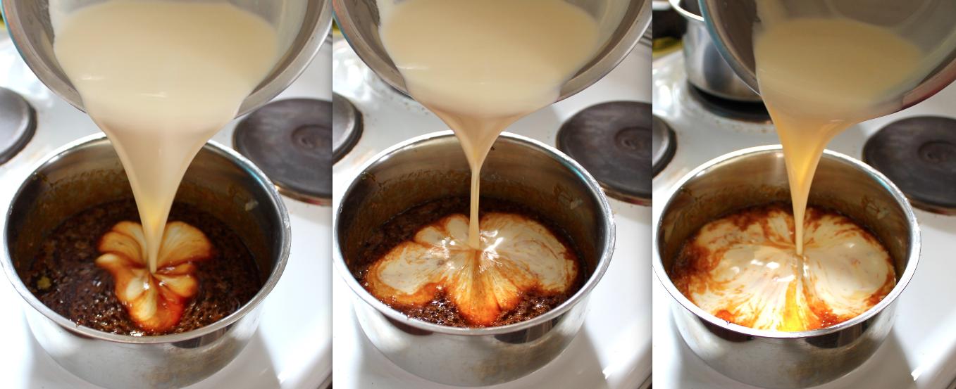 Adding warm cream