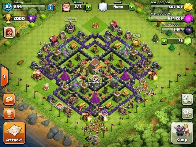 Clan wars th8 trophy base designs