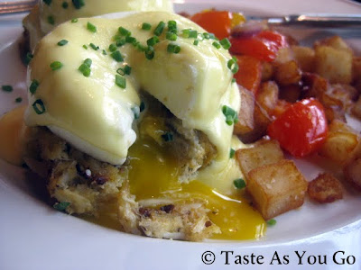 Jumbo Lump Crab Cake Eggs Benedict at Corner Cafe in Atlanta, GA - Photo by Michelle Judd of Taste As You Go
