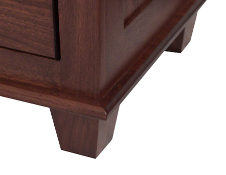 Monrovia Nightstand in Ruby Walnut, Base Detail Closeup