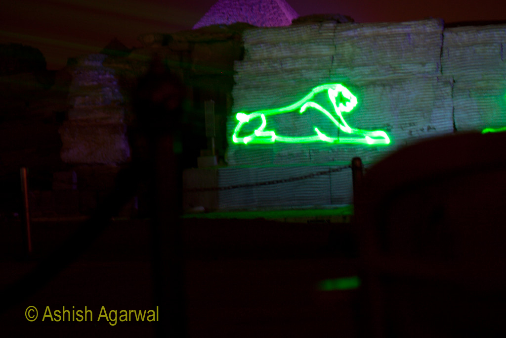 A cat, drawn using laser light, on the walls of the Great Sphinx, as part of the sound and light show