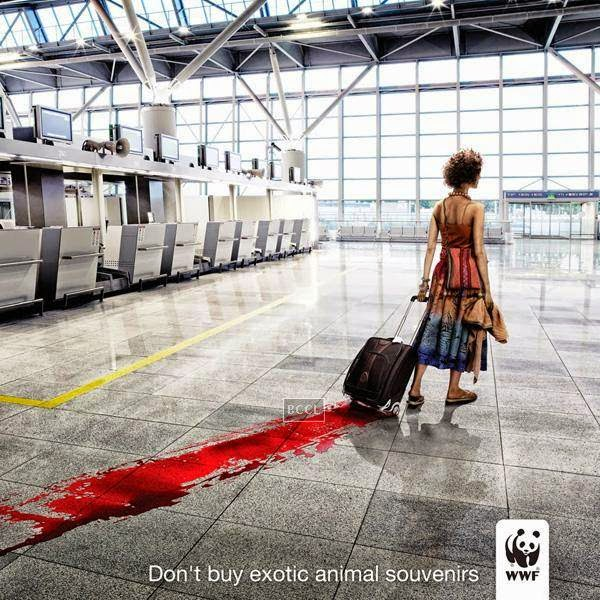 World Wide Fund for Nature's 'Don't buy exotic animal souvenirs' advertisement says it all.
