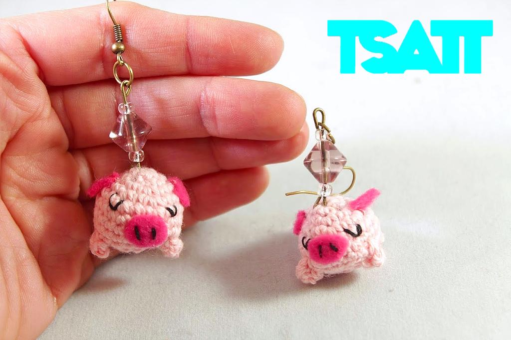 Amigurumi Jewelry Patterns : Amigurumi piglet earrings crochet jewelry The Sun and ...