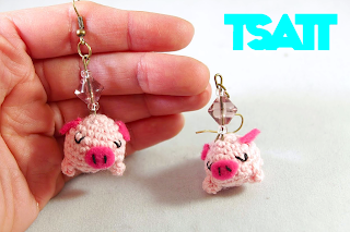 Amigurumi piglet earrings crochet jewelry