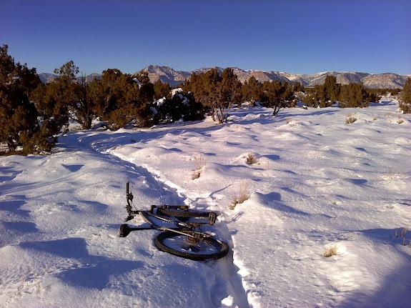 Bike on Luke's Trail in the snow
