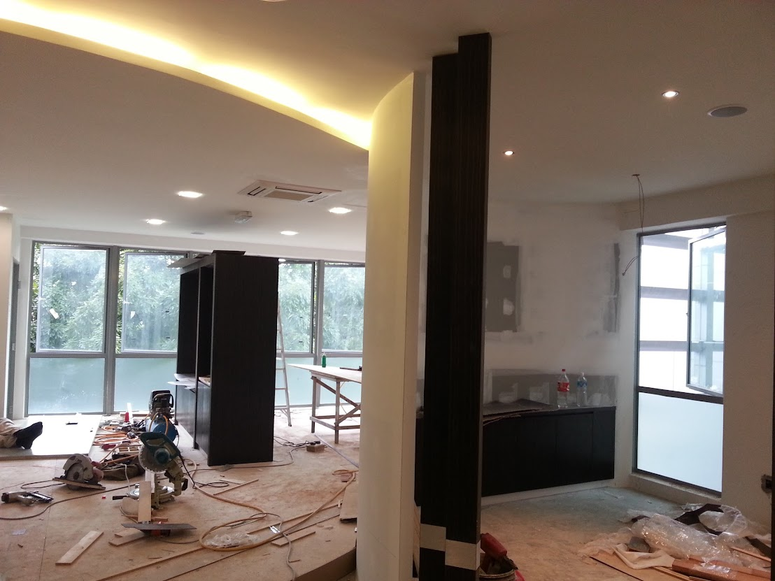 plaster ceiling with concealed light