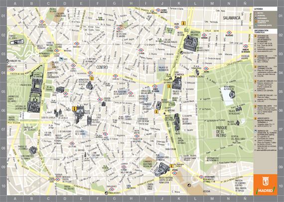 Mapa turístico de Madrid - pincha para verlo ampliado