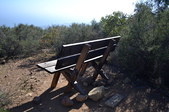 wooden bench with memorial stone