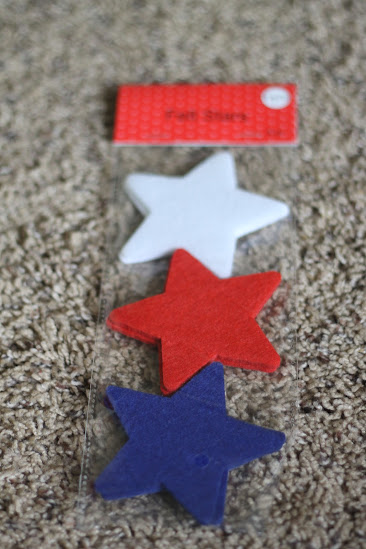 red white and blue stars, joann dollar section, preschool sorting activity