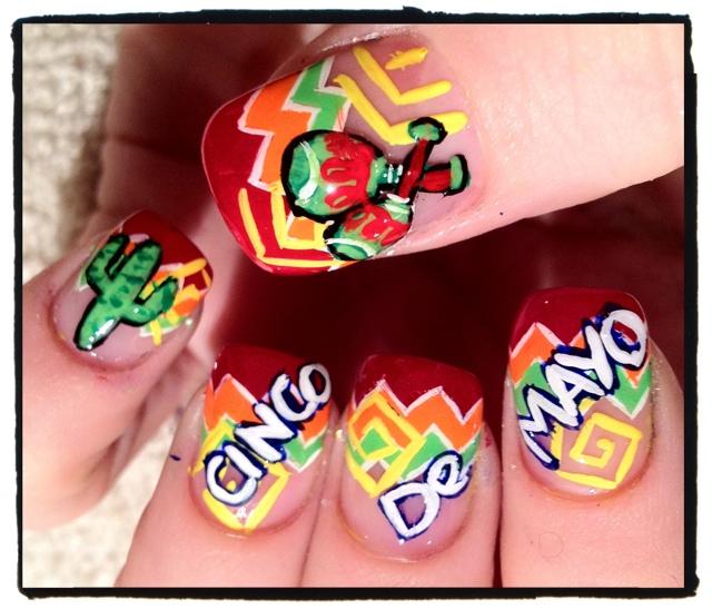 Colorful Nails | Cinco De Mayo | mexico nails designs