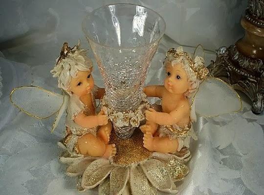 Lindo jarron con angeles para bautizo