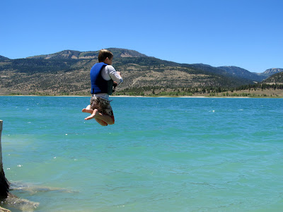 Bradley jumping into the water