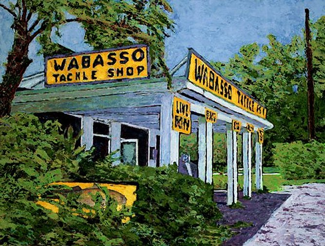 Lowell Fox Fine Art Painting Sebastian Vero Beach Wabasso Fishing Bait Florida