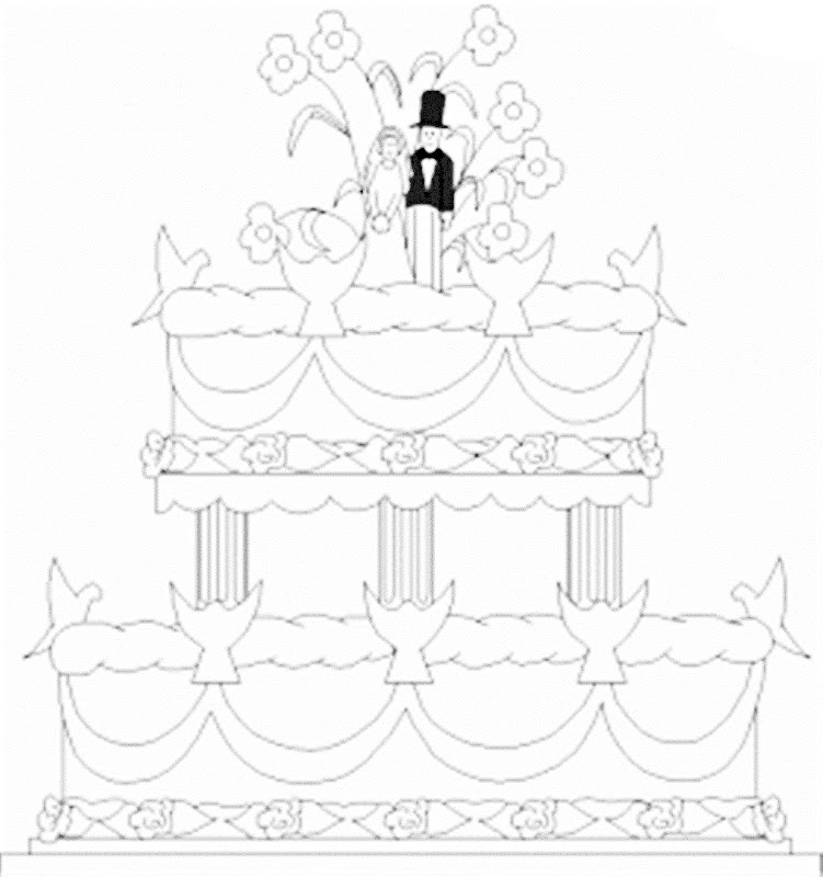 Images wedding cake coloring pages