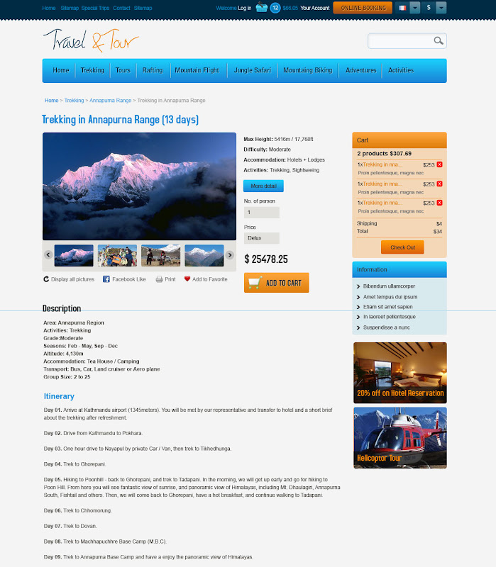 Product Detail Page of Travel and Tour Web Template