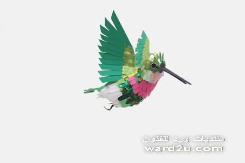 اجمل طيور بشرائط الورق الملون مع الشرح