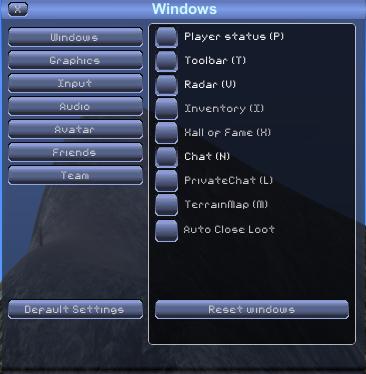 Ingame control and key use. Options_windows