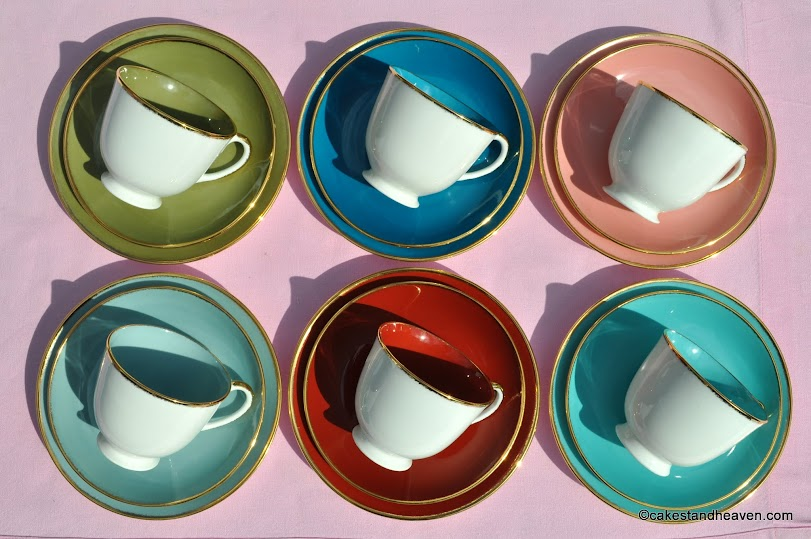 Harlequin Teacups, Saucers and Tea Plates