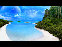 mountains ocean clouds beach trees sea planets paradise science fiction 1280x960 wallpaper