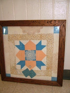 Kathyrn Blais' antique quilt block with samples of tatting and crochet doilies