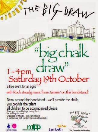 Poster advertising The Big Draw in Myatts Fields Park, Vassall Ward
