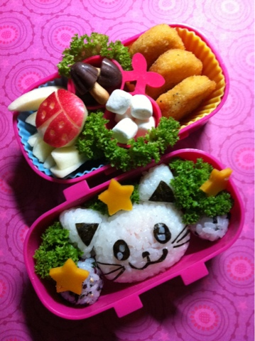 kitty cat lunch, ねこ弁当